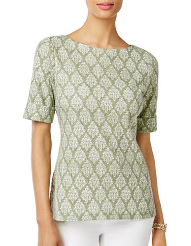 Karen Scott Printed Boat Neck Top-GREEN-Medium