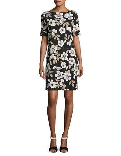 Karen Scott Floral T-Shirt Dress-BLACK-Large