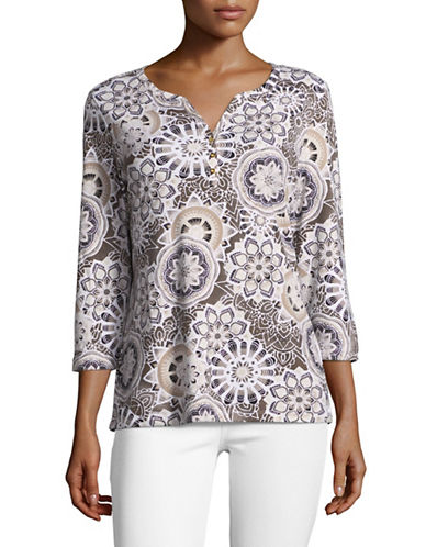 Karen Scott Printed Three-Quarter Sleeve Henley-BROWN-Small
