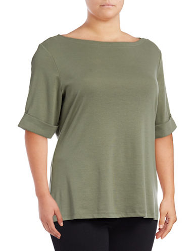 Karen Scott Plus Boat Neck Tee-GREEN-3X
