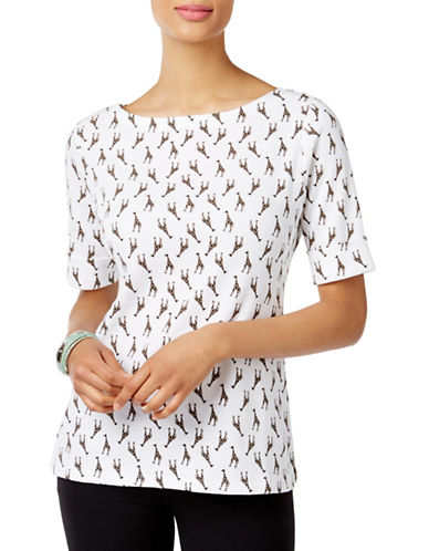 Karen Scott Plus Giraffe-Print Top-WHITE-2X