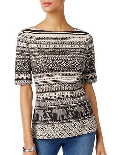 Karen Scott Petite Petite Elephant-Print Top-BLACK-Petite Medium