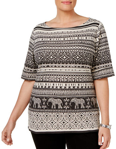 Karen Scott Plus Elephant-Print Boat Neck Top-BLACK-3X