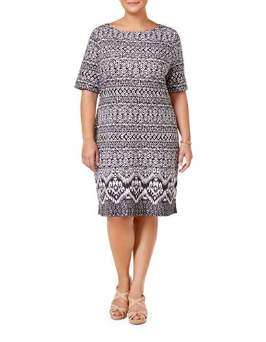 Karen Scott Plus Plus Ikat-Print Boat Neck Dress-BLACK-2X