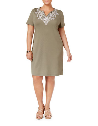 Karen Scott Plus Plus Cotton Embroidered T-Shirt Dress-GREEN-1X