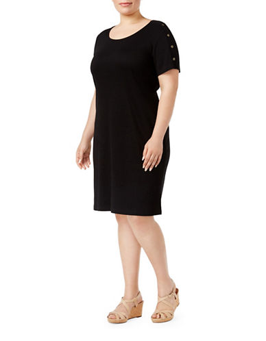 Karen Scott Plus Plus Cotton Button-Shoulder Dress-BLACK-2X