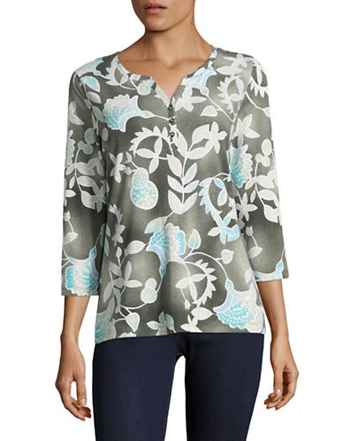 Karen Scott Petite Bonita Batik Three-Quarter Top-GREEN-Petite Medium