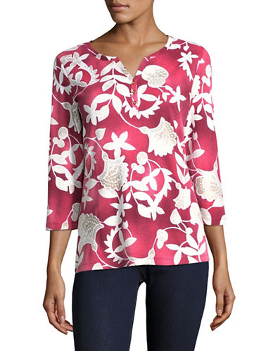 Karen Scott Bonita Batik Three-Quarter Top-RED-Medium