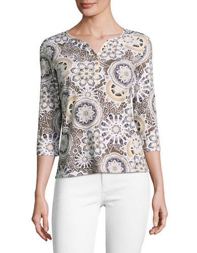 Karen Scott Petite Medallion-Print Henley Top-BROWN-Petite X-Small