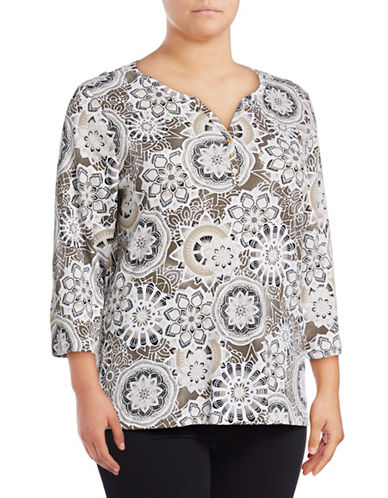 Karen Scott Plus Medallion Print Henley Top-BROWN-1X