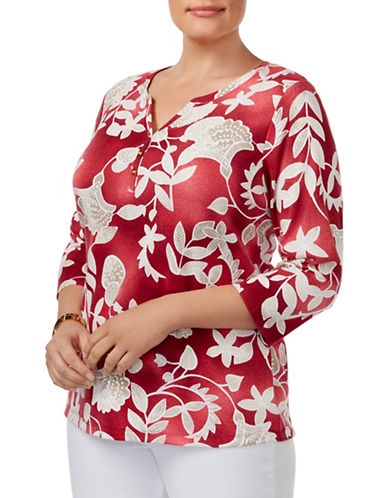Karen Scott Plus Plus Printed Henley Top-RED-1X