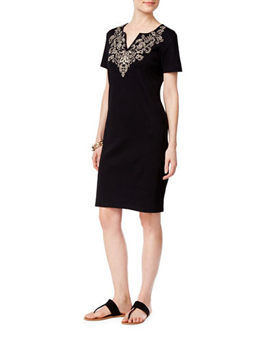 Karen Scott Petite Petite Split Neck Cotton Dress-BLACK-Petite Medium
