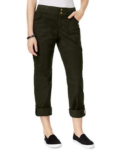 Style And Co. Petite Convertible Cargo Pants-GREEN-Petite 10