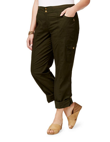 Style And Co. Plus Convertible Cargo Pants-GREEN-16W
