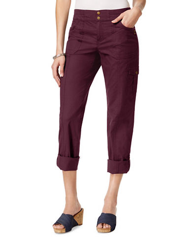 Style And Co. Mid-Rise Convertible Cargo Pants-PURPLE-14