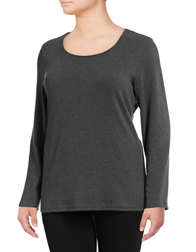 Karen Scott Plus Classic Scoop Neck Shirt-CHARCOAL-1X