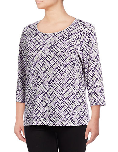 Karen Scott Plus Scoop Neck Graphic Shirt-WHITE MULTI-1X