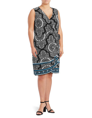 I.N.C International Concepts Plus Mandala Sleeveless Wrap Dress-MOROCCAN-3X