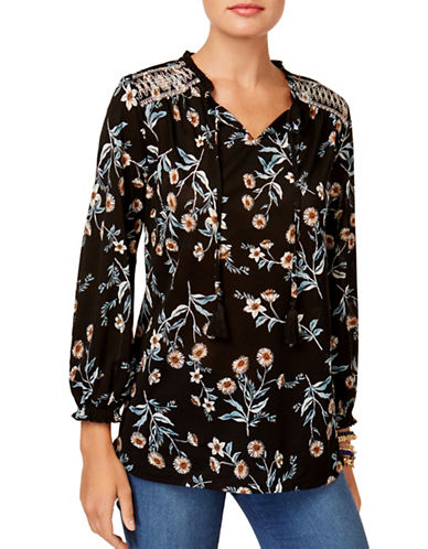 Style And Co. Floral Peasant Top-BLACK MULTI-Small