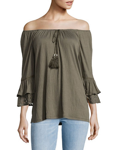Style And Co. Off-Shoulder Lace Trim Top-GREEN-Small