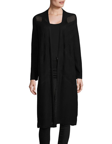 Style And Co. Perforated Duster-BLACK-X-Large