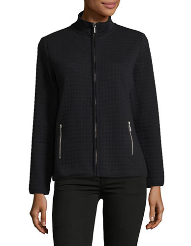 Karen Scott Quilt Stand Collar Jacket-BLACK-Medium