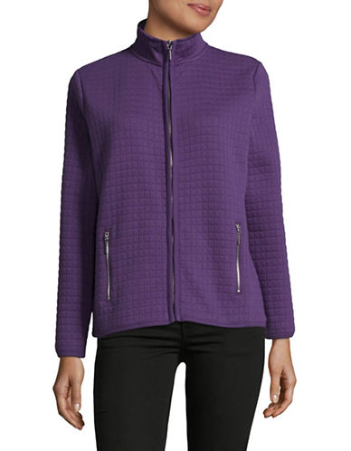 Karen Scott Quilt Stand Collar Jacket-CASSIS-Medium