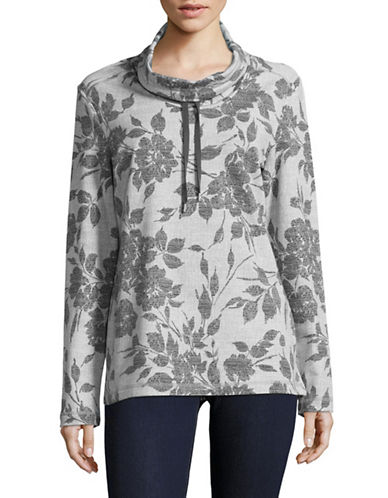 Karen Scott Garden Funnel Neck Top-GREY-Small