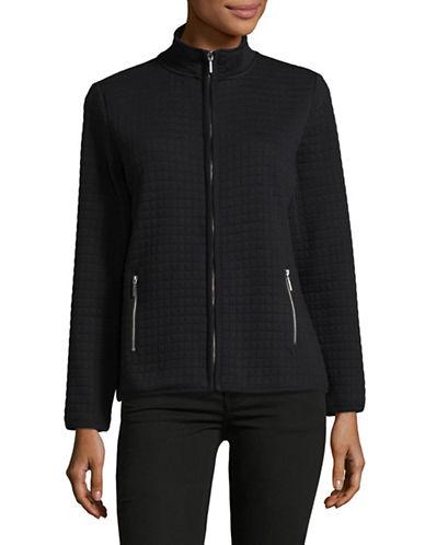 Karen Scott Petite Quilted Fleece Jacket-BLACK-Petite Small