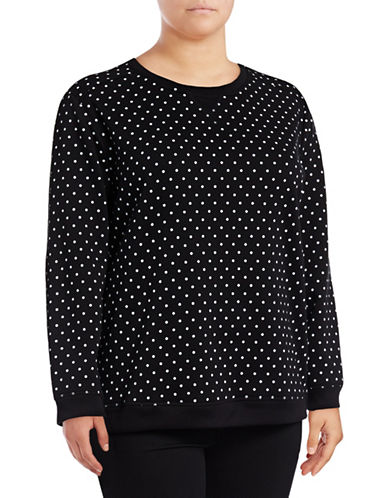 Karen Scott Plus Polka Dot Sweatshirt-BLACK-3X