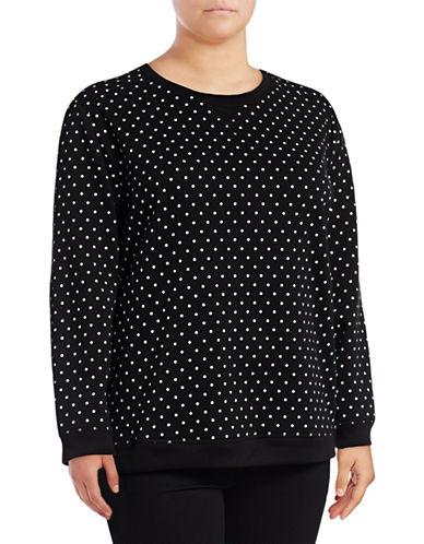 Karen Scott Plus Polka Dot Sweatshirt-BLACK-1X