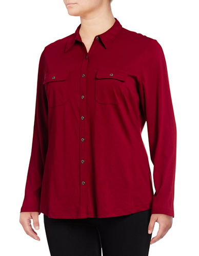 Karen Scott Plus Knit Utility Shirt-GARNET-2X