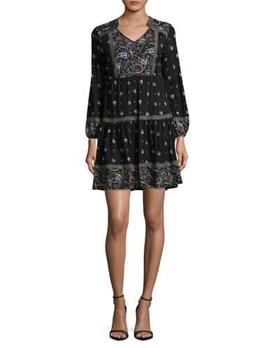 Style And Co. Petite Bohemian Peasant Dress-BLACK MULTI-Petite X-Small