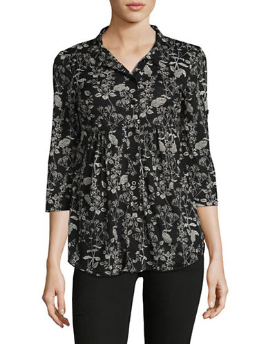 Style And Co. Petite Floral-Print Mesh Blouse-BLACK MULTI-Petite X-Small