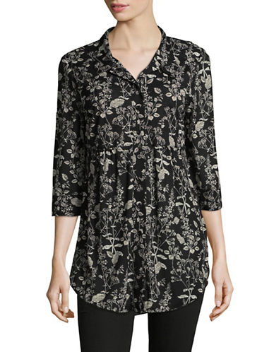 Style And Co. Floral-Print Mesh Blouse-BLACK MULTI-Medium