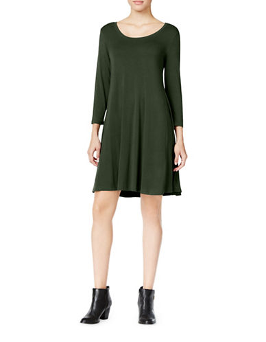 Style And Co. Petite Swing T-Shirt Dress-GREEN-Petite Large