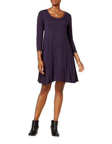 Style And Co. Petite Three Quarter Sleeve Swing Dress-PURPLE-Petite Medium