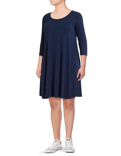 Style And Co. Plus Three-Quarter Sleeve Trapeze Dress-BLUE-2X