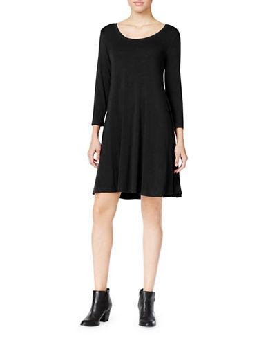 Style And Co. Three Quarter Sleeve Swing Dress-BLACK-Medium