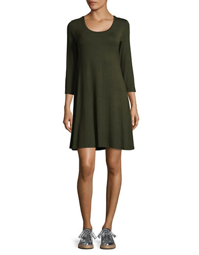 Style And Co. Three-Quarter Sleeve Swing Dress-GREEN-Large