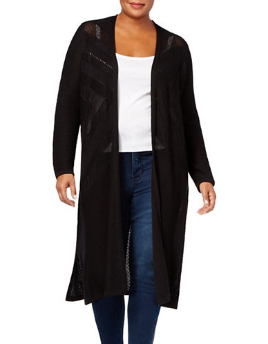 Style And Co. Plus Ribbed Duster Cardigan-BLACK-1X