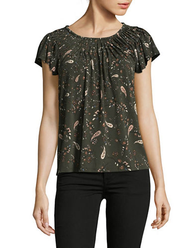 Style And Co. Petite Paisley Cap Sleeve Top-GREEN-Petite X-Small