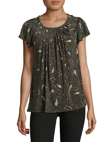 Style And Co. Floral Print Pleated Top-FALLEN-Large