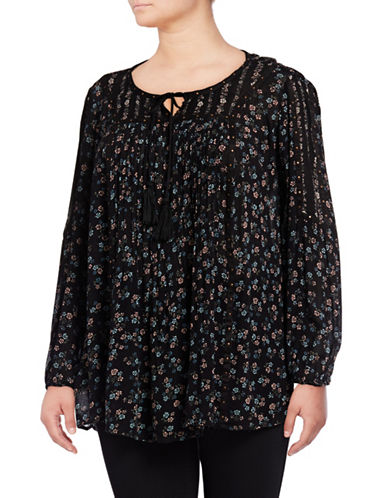 Style And Co. Plus Floral-Print Peasant Top-BLACK-2X