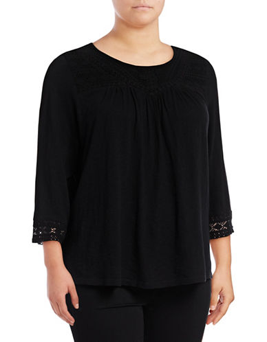 Style And Co. Plus Cotton Crochet Blouse-BLACK-1X