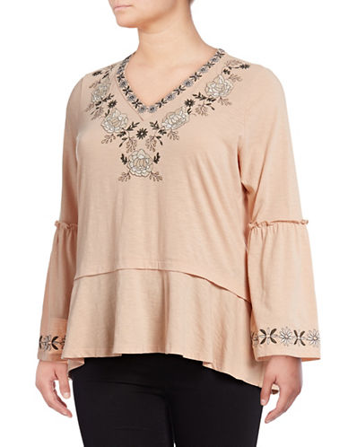 Style And Co. Plus Embroidered Slub Peasant Top-BLUSH-1X