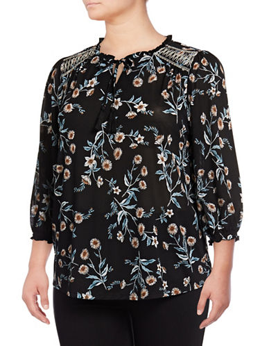 Style And Co. Plus Floral Print Tunic-BLACK MULTI-2X