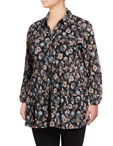 Style And Co. Plus Plus Floral Tunic-BLACK MULTI-1X