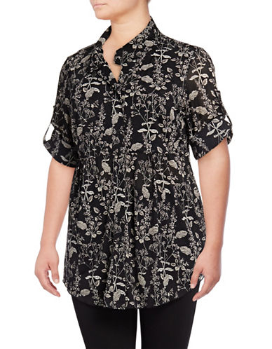 Style And Co. Plus Floral-Print Mesh Blouse-BLACK MULTI-3X