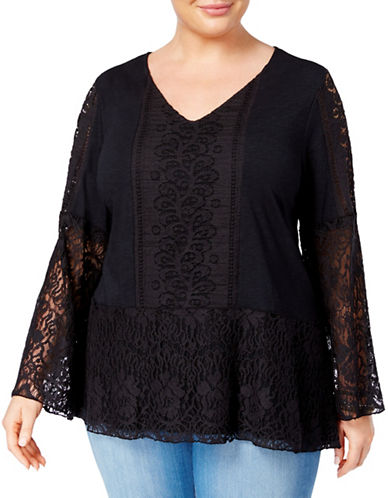 Style And Co. Plus Lace Overlay Peplum Bell Sleeve Tunic-BLACK-1X